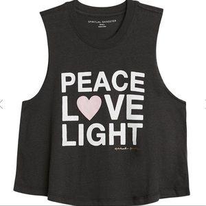 Spiritual Gangster Peace Love Light Crop Tank XL